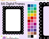 40% OFF SALE Dotted Scalloped Rectangle Digital Frames - Clip Art Frames - Instant Download - Commercial Use