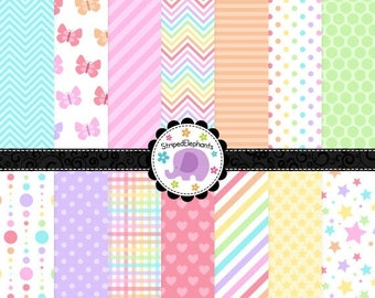 40% OFF SALE Pastel Rainbow Digital Paper Pack - Clipart Paper - Instant Download - Commercial Use