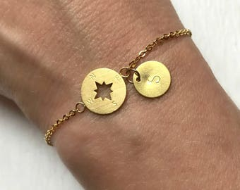 Gold Compass Bracelet, custom hand stamped adjustable delicate link personalized initial matte brushed graduation travel gift for her