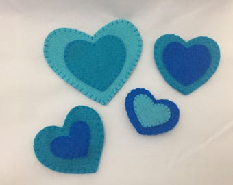 Turquoise Hearts Magnet Set- 4 pieces