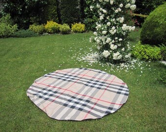 beach cloth - Classic plaid round circle square cotton tablecloth Grass Lawn Yard Camp Yoga cloth - picnic cloth - beige black red plaid
