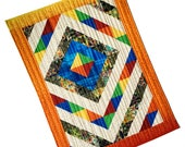 """Quilted Wall Hanging, Modern Sunrise Fiber Art, Home Decor Quilt,  Patchwork Wall Art, 26"""" X 36"""", Orange, Yellow, Blue Table Topper"""