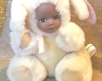 """Pouchie, A 5"""" tan plush teddy bear puppy with African American porcelian face"""