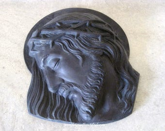French Antique Bronze Head of Christ & The Crown of Thorns Plaque