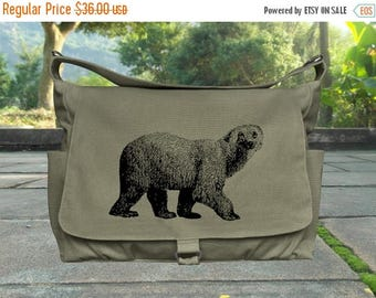 On Sale 20% off Olive canvas travel bag, screen print diaper bag, school bag for boys and girls