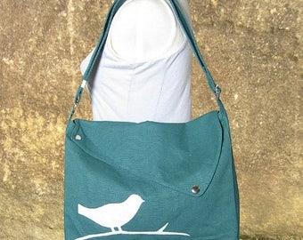 On Sale 20% off Teal green cotton canvas messenger bag / shoulder bag / bird messenger /diaper bag / cross body bag