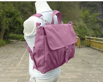 Easter Sale 20% off - Purple canvas backpack, unisex canvas bag, school bag for boys and girls