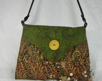 Quilted Cotton Shoulder Purse, Green and Salmon Paisley on Black - Medium