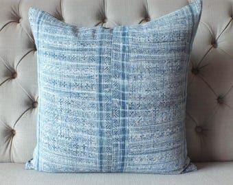 Vintage Batik Hmong Pillow Cover, Indigo Hemp Cushion Cover, Tribal Throw Pillow Case, Hill Tribe Ethnic Pillow Case