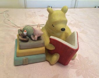 Classic Winnie The Pooh Book Shelf Lamp. Night Light Nursery Decor In The Hundred Acre Woods Decor. Pooh Inspired. Classic Pooh Reading