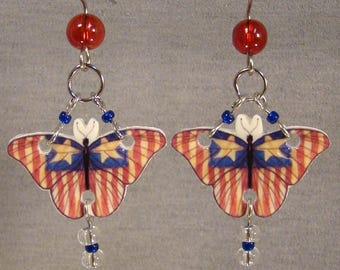 Ameican Flag Butterfly dangle earrings - Americana Jewelry - Patriot Jewellery