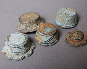 Set of 5 Antique metal plates, caps, embellishment, connector, finding, dark patina