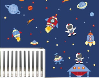Outer Space Wall Decals With Astronauts,Planets, Rockets Space Children Wall  Decor  Part 90