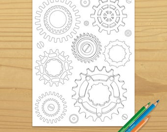 Gears Coloring Page, Steampunk Coloring Page, Machine Color Page, Clockwork Coloring Page, Digital Download