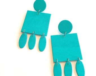 Teal Wooden Earrings 2
