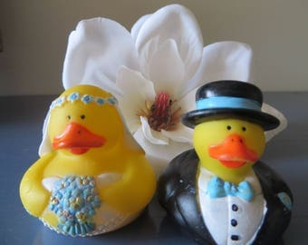 Specialty Bride and Groom  Ducky Set - I will custom paint to match your wedding colors, custom paint, bride and groom, ducky, wedding gift