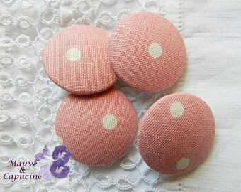 Button pink fabric with white polka dots, 24 mm / 0.94 in diameter