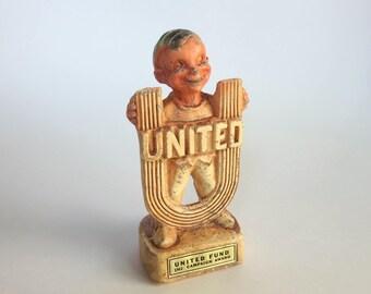 Vintage United Fund Campaign Award 1968 United Way Multi Products Figurine