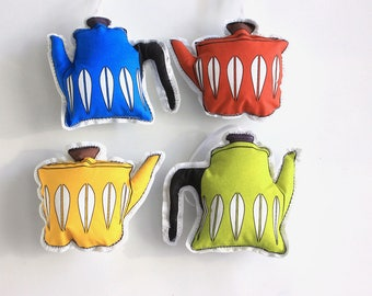 Tea pot Christmas ornaments: Catherine holm inspired- tree decorations