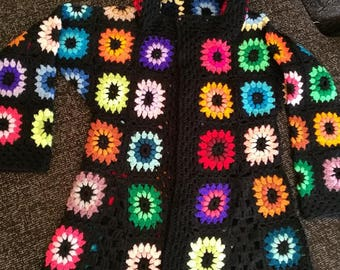 Crochet  granny square multicolour kaleidoscope 1960-s hippie bohemian hoodie coat jacket cardigan with pockets