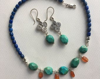 Boho Turquoise, Lapis and Carnelian Necklace with Matching Long Silver and Turquoise Earrings