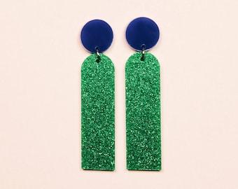 POP JEWELS - Pop Sticks Earrings - Laser Cut - Green Glitter/Blue Acrylic Earrings