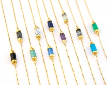 Minimalist Gemstone Necklace, 14k Gold Filled Chain, Dainty Tube Necklace, Simple Choker Gold, Bridesmaid Gift, Birthday Gift, Boho Necklace