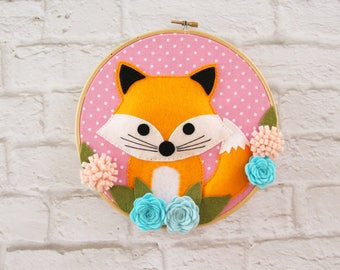 Hoop art, fox felt hoop, kids room décor, baby nursery art, fox embroidery hoop, fox wall art, baby shower gift, new baby gift
