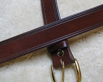 """Hand-Rubbed 1.25"""" wide Leather Belt - B11000 HD - Made-To-Order, the """"Forever"""" belt"""