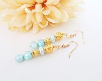 Freshwater Pearl Earrings, Ocean Blue Drop Earrings, Aqua Bridesmaid Jewelry Gift, Blue Pearl Earring, June Birthstone Jewelry Birthday Gift