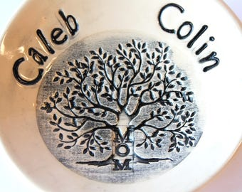 """PRE-ORDER, 4 1/2"""" Personalized Ring Dish, Ceramic, Handmade Pottery, by RiverStone Pottery"""
