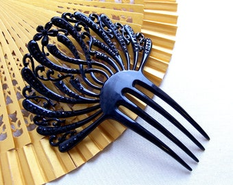 French jet hair comb Victorian mourning Spanish celluloid hair accessory hair ornament decorative comb