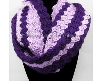 Striped Shell Stitch Infinity Scarf, 10 inches x 72 inches, 58 colors available