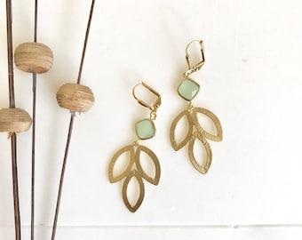 Mint Dangle Earrings in Gold. Mint Leaf Drop Earrings.  Mint Jewelry. Bridesmaid Earrings. Gift for Her. .