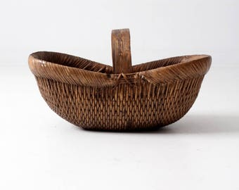 antique Chinese willow basket, woven basket
