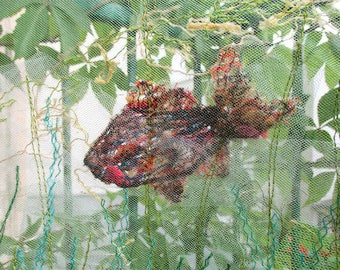 Fish in the garden - contemporary textile art