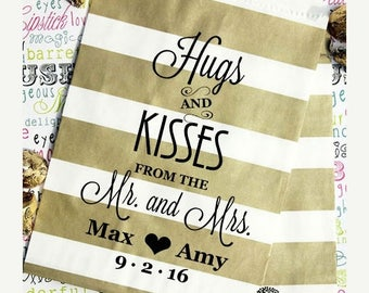 """GLAMSALE 50 Personalized Wedding Favor Bags, Gold Stripe Wedding Candy Bags, Popcorn Bags, Cookie Bags - """"Hugs and Kisses From the Mr. And M"""