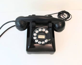 Working Vintage Rotary Phone - Black Bakelite Telephone - Retro Wired for Land Line Use - Great Working Condition - Old Fashioned Ringer