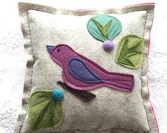 Small felt bird pillow great for accent in kids or babies room or anywhere, price is one pillow