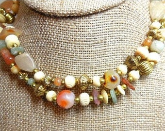 2 Vintage Necklaces orange green gold Semi Precious Agate Jasper Beach Resort Boho
