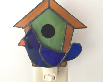 stained glass birdhouse nightlight wth blue bird