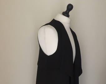 vintage black long duster jacket  WOMENS 12