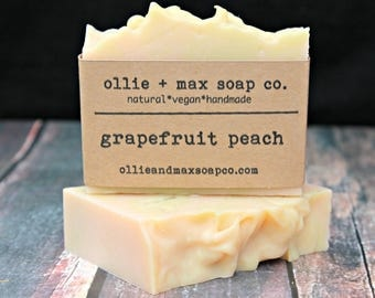 Grapefruit Peach Soap, Cold Process Soap, Natural Soap, Handmade Soap, Vegan Soap