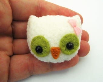 Tiny White Owl Felt Pin
