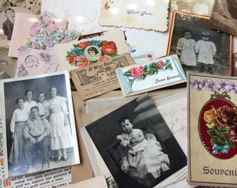 A Small Pile Of Antique & Vintage Photos Letters And Card To Shift Through