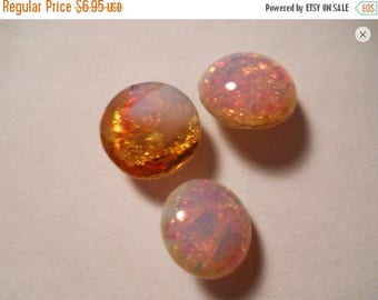 SPECIAL Vintage Harlequin Fire Opal Cabochons Round 11mm ss48 Pointed back  QTY - 2