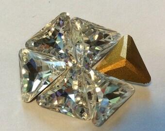 SPECIAL Vintage Swarovski Triangle Crystal Rhinestones 10mm QTY - 2