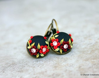 Lovely Polymer Clay Applique Statement Earrings in Black and Red