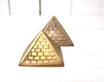 34% Off Sale - Brass Pyramid Figurines 1960s Boho Egyptian Vintage Home Decor Set of 2