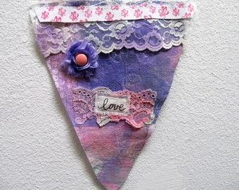 Super Cute Mixed Media Fabric PRAYER FLAG/Wall Hanging3